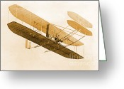 1908 Greeting Cards - Orville Wright In Wright Flyer, 1908 Greeting Card by Science Source