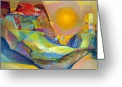 Incas Greeting Cards - OS1959BO005 Abstract Landscape Potosi 22.75x18.5 Greeting Card by Alfredo Da Silva