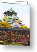 Impressionist Art Greeting Cards - Osaka Castle - Painterly - 40D17138 Greeting Card by Wingsdomain Art and Photography