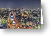 Long Street Greeting Cards - Osaka City Greeting Card by Daniel Chui