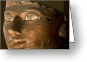 Structures Greeting Cards - Osiris Statue Face Of Hatshepsut Greeting Card by Kenneth Garrett