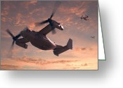 Air Digital Art Greeting Cards - Ospreys in Flight Greeting Card by Mike McGlothlen