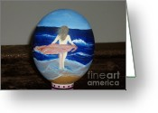 Egg Sculpture Greeting Cards - Ostrich Egg - The Wind Greeting Card by Gladis Sagi