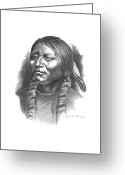 Native American Indians Drawings Greeting Cards - Otter Belt Greeting Card by Lee Updike