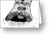 Coffee Drawings Greeting Cards - Otter Drinking Coffee Greeting Card by Karl Addison