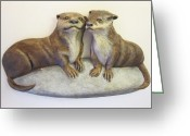 Love Reliefs Greeting Cards - Otters Greeting Card by Janet Knocke