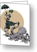 Vintage Greeting Cards - Otto By The Sea Greeting Card by Brian Kesinger