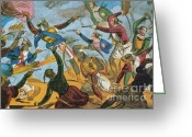 Pirates Greeting Cards - Ottoman Corsairs Attacking Greek Greeting Card by Photo Researchers