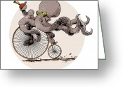 Steampunk Greeting Cards - Ottos Sweet Ride Greeting Card by Brian Kesinger