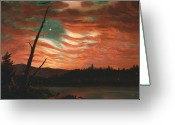 Flag Of The United States Greeting Cards - Our Banner in the Sky Greeting Card by Frederic Edwin Church