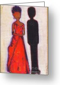 Michelle Obama Greeting Cards - Our First Lady In Red Her Husband is Black Greeting Card by Ricky Sencion