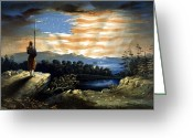 United States Flag Greeting Cards - Our Heaven Born Banner Greeting Card by War Is Hell Store