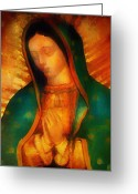 Bill Cannon Mixed Media Greeting Cards - Our Lady of Guadalupe Greeting Card by Bill Cannon