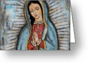 Folk Art Greeting Cards - Our Lady of Guadalupe Greeting Card by Rain Ririn