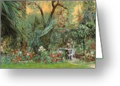 Guido Tapestries Textiles Greeting Cards - Our Little Garden Greeting Card by Guido Borelli