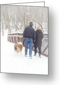 People Walking Greeting Cards - Our Love Will Keep Us Warm Greeting Card by Larry Ricker