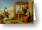 Jesus Painting Greeting Cards - Our Saviour Subject to his Parents at Nazareth Greeting Card by John Rogers Herbert