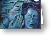 Drinking Water Greeting Cards - Our Secret Painting 49 Greeting Card by Angela Treat Lyon
