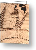 Nudes Pyrography Greeting Cards - OUR WORLD No.1  Still and Silent Greeting Card by Neshka Agnieszka Muchalska