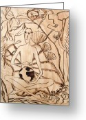Children Pyrography Greeting Cards - OUR WORLD No.3  Divine Plan Greeting Card by Neshka Agnieszka Muchalska