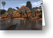 Four Animals Greeting Cards - Ouranosaurus Drink At A Watering Hole Greeting Card by Walter Myers