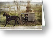 Horse And Buggy Greeting Cards - Out For A Ride Greeting Card by Kathy Jennings