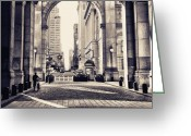 Bicycle Greeting Cards - Out from Shadows - Manhattan Municipal Building - New York City Greeting Card by Vivienne Gucwa