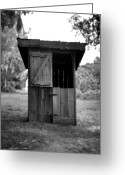Vintage Outhouse Greeting Cards - Out House in Black and White Greeting Card by Rebecca Brittain