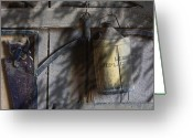 Tin Greeting Cards - Out in the Barn Greeting Card by Tom Mc Nemar