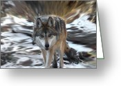 Wolves Mixed Media Greeting Cards - Out Of Nowhere Greeting Card by Ernie Echols