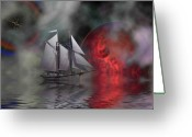 Sailboat Picture Greeting Cards - Out of the Mist Greeting Card by Corey Ford