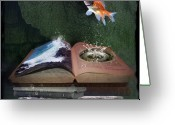 Goldfish Greeting Cards - Out of the Pond Greeting Card by Karen Koski