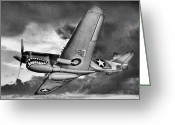 Airplanes Greeting Cards - Out of the Storm BW Greeting Card by JC Findley