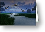 Geese Greeting Cards - Out of the Storm Greeting Card by Dieter Carlton