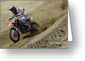 Motorcycle Racing Greeting Cards - Out Of The Turn 1 Greeting Card by Bob Christopher
