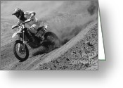 Motorcycle Racing Greeting Cards - Out Of The Turn 1 Monochrome Greeting Card by Bob Christopher