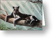 Black Leopard Greeting Cards - Out On A Limb Greeting Card by DiDi Higginbotham
