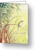 Sparrow Greeting Cards - Out on a Limb Greeting Card by Jennifer Lommers