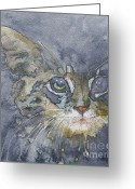 Feline Painting Greeting Cards - Out The Blue You Came To Me Greeting Card by Paul Lovering