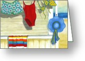 Sunbathing Greeting Cards - Out To Dry Greeting Card by Debbie Brown