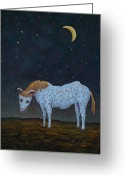 Hill Painting Greeting Cards - Out to Pasture Greeting Card by James W Johnson