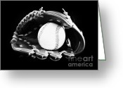 Baseball Mitt Greeting Cards - Out to the Ball Park Greeting Card by Lj Lambert