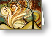 Surreal Tapestries Textiles Greeting Cards - OUT WEST Original MADART Painting Greeting Card by Megan Duncanson