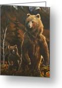 Kodiak Painting Greeting Cards - Out with Mom Greeting Card by Scott Thompson