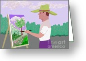 Happy Texas Artist Greeting Cards - Outdoor Artist  Greeting Card by Fred Jinkins
