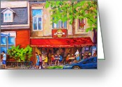 Resto Bars Greeting Cards - Outdoor Cafe Greeting Card by Carole Spandau