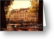 Architectur Greeting Cards - Outdoor Cafe in Lucerne Switzerland  Greeting Card by Susanne Van Hulst