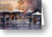 Umbrellas Greeting Cards - Outdoor Market - Rome Greeting Card by Ryan Radke