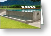 Transparent Green Greeting Cards - Outdoor Swimming Pool Greeting Card by Atiketta Sangasaeng