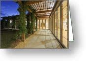 Construction Yard Greeting Cards - Outdoor Walkway on a Modern Home Greeting Card by Jeremy Woodhouse
